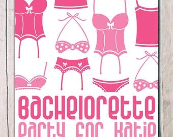 printed 'hen party' 'bachelorette invitations' · lingerie party invitation · hen party invitation · bachelorette party invitation