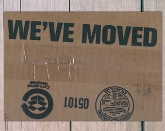 printed 'we moved' postcard · we moved postcard · address change postcard · moving postcard