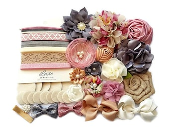 Baby Shower Headband Station - DIY Baby Headband Kit - Makes up to 14 headbands! Vintage, Floral, Burlap, Mauve, Ivory Charcoal - HK160