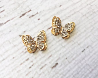 Gold Butterfly Rhinestone Embellishments - 18mm x 14mm Embellishments - You choose the Quantity - MR972 Gold