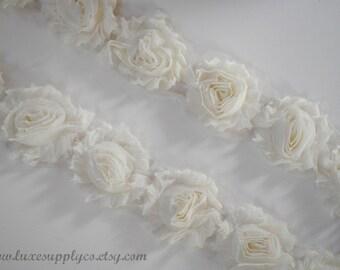 Shabby Chiffon Flower Trim - YOUR CHOICE: 1/2 yard or 1 yard - Ivory Chiffon Flower Trim by the yard - DIY Headbands & Crafts - Shabby Trim
