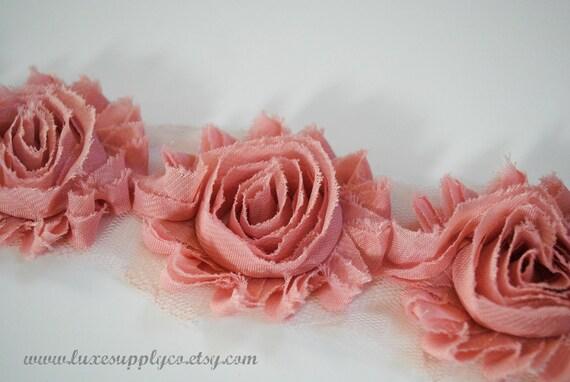 Apple Green Chiffon Rose Flower Trim 5 Yards