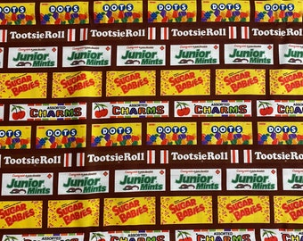 """Tootsie Roll/Dots/Sugar Daddy Brown Fabric - 18"""" x 44"""" - Same Day Shipping"""