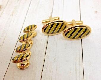 Vintage Mens Formal Oval Gold & Black Diagonal Cufflinks and Tuxedo Studs Set