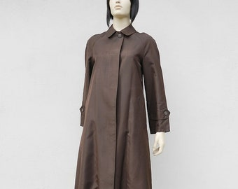 70s Raincoat Brown Overcoat / Silk / Size M