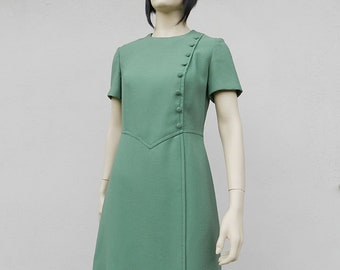60s Mod Dress Medium Large Green Short Sleeve Vintage 1960s Party Dress Size M L