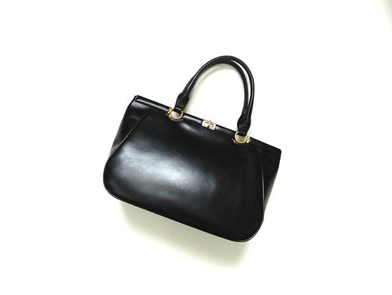 60s Handbag Blue Leather Mod / Top Handle Bag