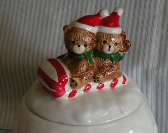 christmas candy dish christmas cookie jar teddy bear candy jar or cookie jar snowball cookie jar snowball candy jar