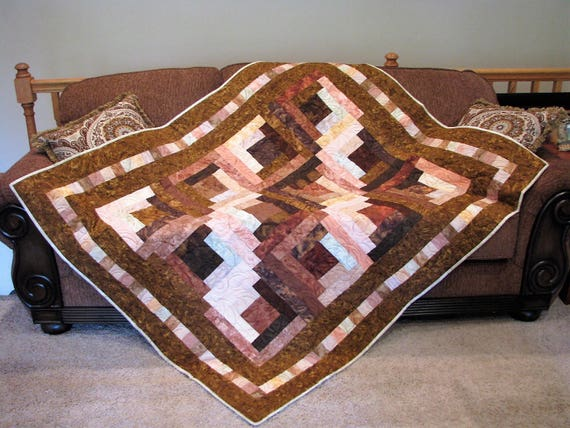 Astonishing Quilts For Sale Quilt Lap Quilt Sofa Quilt Quilted Throw Handmade Quilt Log Cabin Brown Isnt Boring Gamerscity Chair Design For Home Gamerscityorg