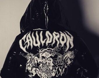 8014918fa9f Cauldron pvc customised jacket with studded hood