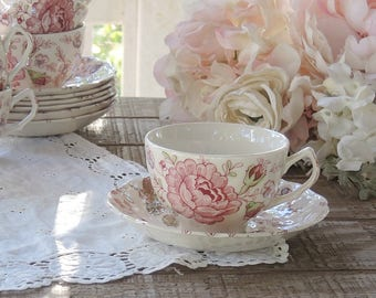 Vintage Johnson Brothers Rose Chintz Tea Cup and Saucer Set, English Ironstone China, Bridesmaid Luncheon, Tea Parties Ca 1930s