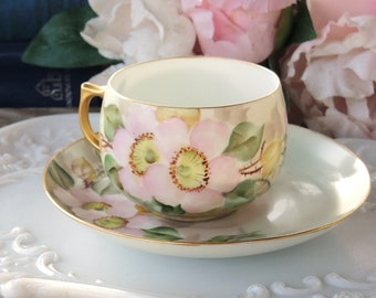 4 Available Vintage Thomas Bavaria The Claridge Butterfly and Bird of Paradise Teacup and Saucer Set