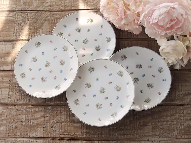 ON SALE Sadek Petite Fleur Salad Plates Set of 4 Cake Plates Tea Party China Floral Plates Bridesmaid Luncheon #6724