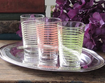 Mismatched Striped Juice Glasses Set of 3 Retro Glassware Home and Living Mid Century Modern