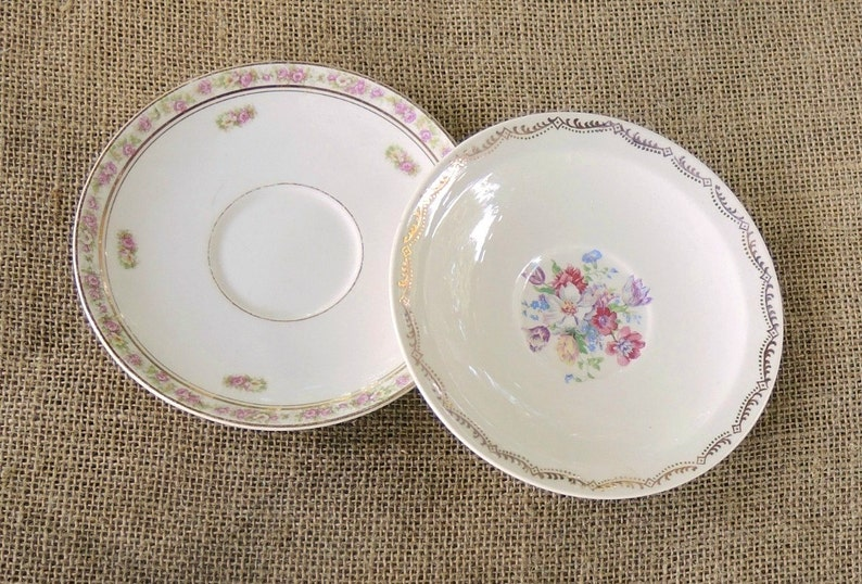 Vintage Mismatched China Saucers for Weddings  Set of 4  Replacement China Bridal Luncheons Tea Party  Hostess Gift Bridesmaid Gift,