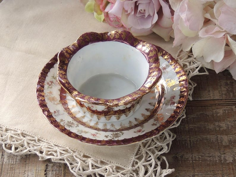 ON SALE Antique Victoria Austria Pink Rosebud Ramekin with Under Plate Appetizers Cottage Style French Country Tea Party
