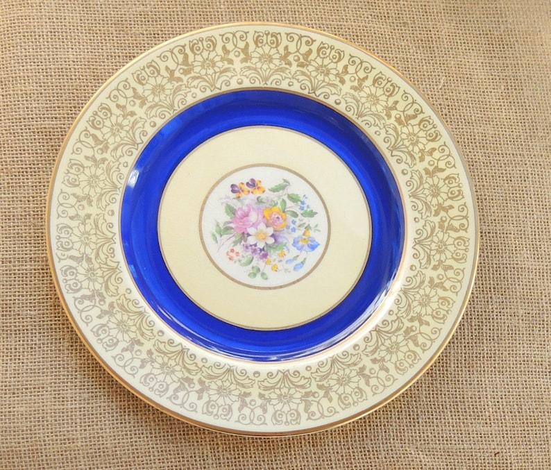 Blue Gold Pareek Tea Party Elegant Dinner Party Replacement China Cabinet Plate Johnson Brothers Pareek Dinner Plate