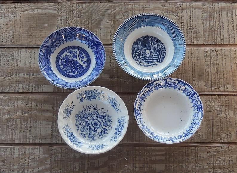 Wedding Tea Party Berry Bowls Vintage Housewarming Sauce Bowls ON SALE Mismatched Blue White Transferware Dessert Bowls Set of 4 Bowls