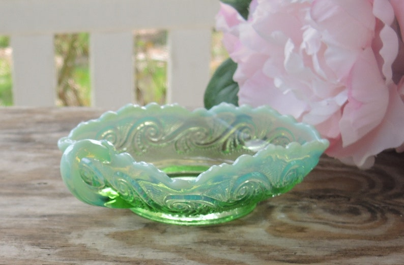 ON SALE Vintage Green Handkerchief  Opalescent Glass Dish with Handle Scalloped Edge Candy Bowl Art Glass