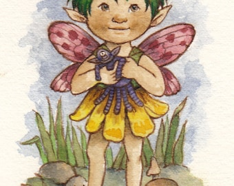 Original Watercolor: Fairy with Purple Dolly