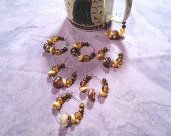 Coffee Klatch wine charms, Tiger eye gemstone, set of seven