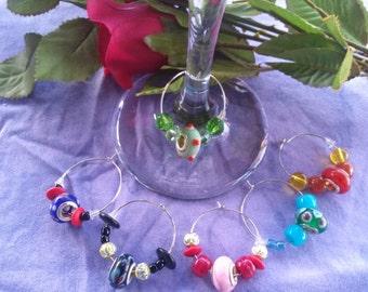 Wine Charms, Murano glass and wood beads, six piece set