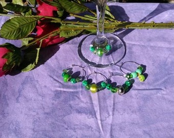 Wine Charms, Murano glass and Howlight, five piece set, theme St. Patrick's Day