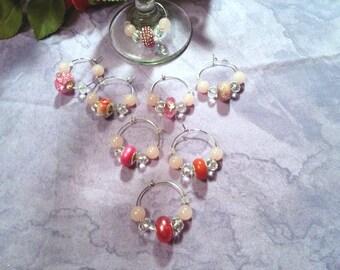 Wine charms, Rose Quartz and Swarovski crystals, theme pink, set of eight