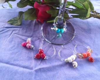 Wine Charms, bright colored Howlite skulls, five piece set
