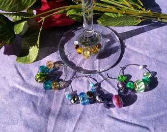 Wine Charms, Murano glass, five piece set
