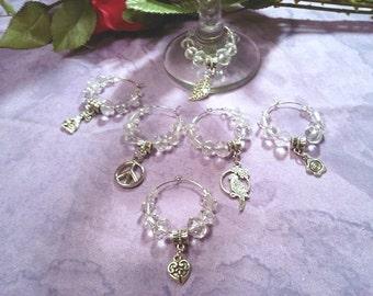 Wine charms,  Theme, Swarovski crystal, set of six