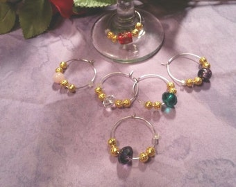 Wine charms, gold and crystal, set of six