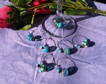 Wine Charms, Murano glass, seven piece set, themed in blue