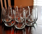 Etched Stemless Wine Glasses Monogrammed Host Hostess Gift (set of 8) AS SEEN ON Live with Kelly & Michael