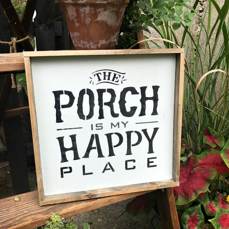 b5dedcea5 Porch Decor The Porch Is My Happy Place Framed Wood Sign | Etsy