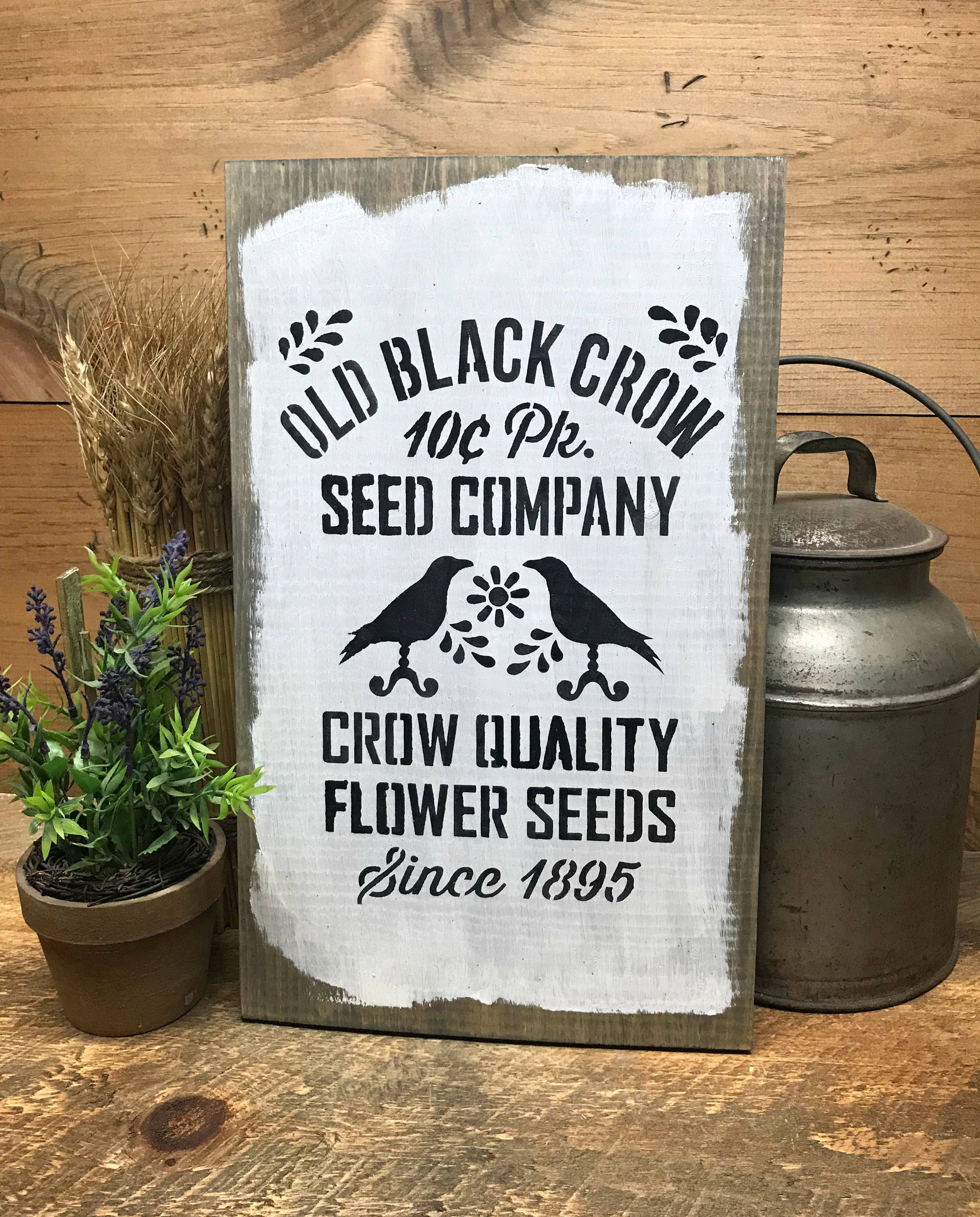 Vintage Wooden Signs Home Decor: Primitive Wooden Sign Crow Decor Old Black Crow Seed