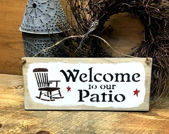 Wooden Patio Sign, Welcome to our Patio, Wood Sign Saying, Front Door Decor, Rustic Patio, Wooden Signs, Gift For Mom