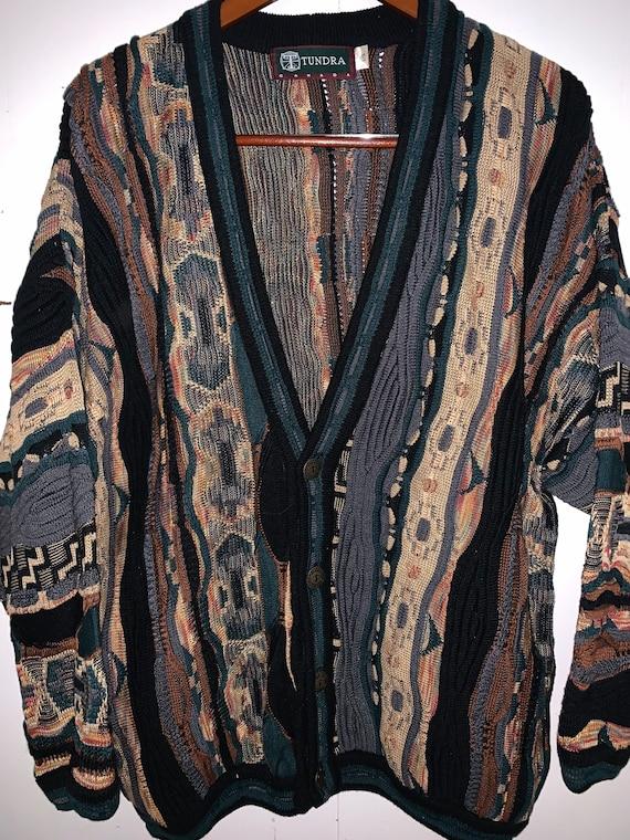 Vintage Men's Tundra sweater, 90s Coogi style swea