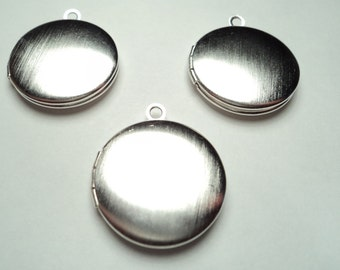 3 pcs - 20mm Brushed Matte Silver plated round Lockets - m267smw