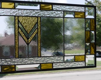 Prairie School Stained Glass panel   Gold and Bevels