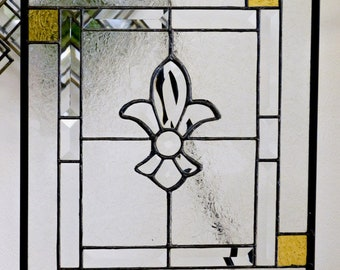 Stained Glass Panel with Gold Accents and center Bevel