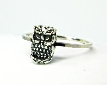 Owl ring - Sterling silver ring '' Owl '' Stacking ring - jewelry - small owl ring - silver owl ring - Bohemian ring - owl jewelry - owl