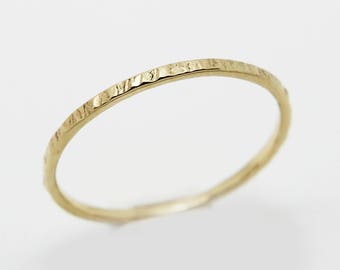 9K Skinny gold band 'Sun'- 9K Gold wedding band - thin wedding band -hammered ring - Yellow gold - rustic wedding band - wedding ring - gift
