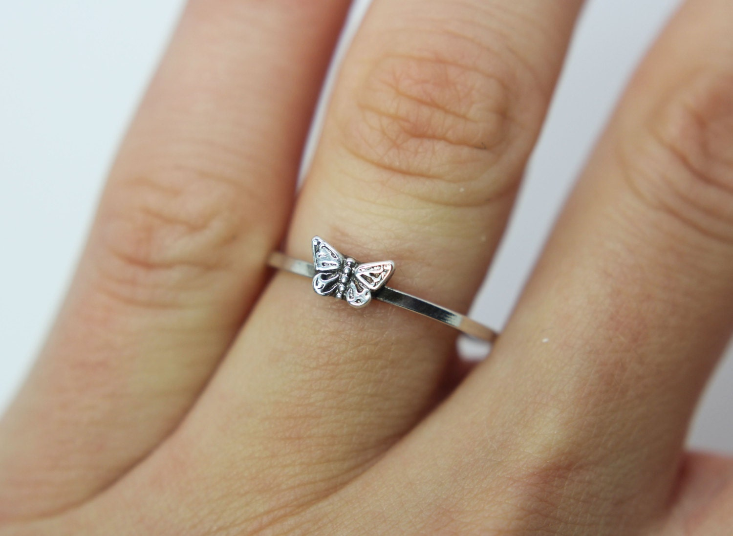 thin ring band everyday ring stack ring Sterling Silver Butterfly Ring  vine ring nature inspired stackable ring butterfly jewelry