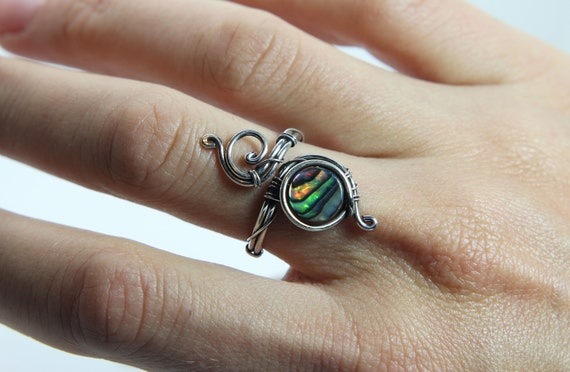 Inlay in Silver Shell Ring made in Sterling silver Dainty shell Ring for her inlay in silver Dragon face Shell Ring.