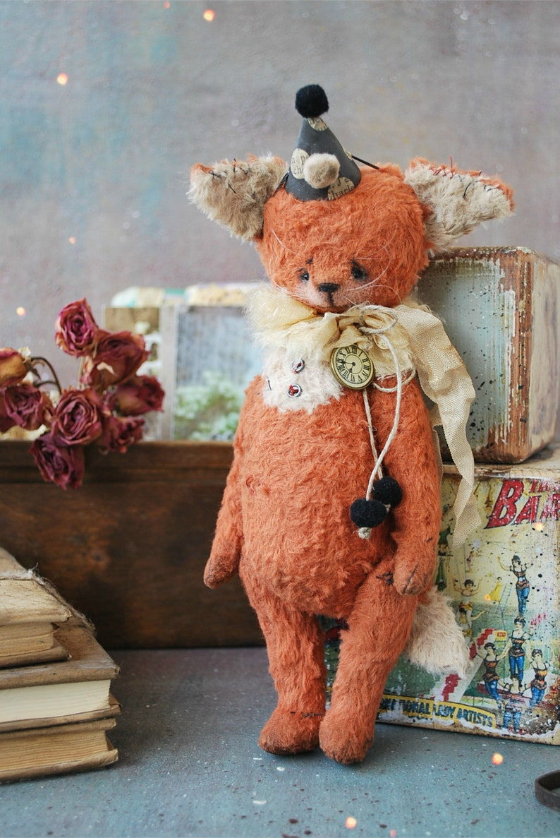 OOAK Vintage Style Sweet Artist FOX by Natali Sekreta Retro Antique Vintage style Teddy-One of a kind Franco : stuffed-home decor gift