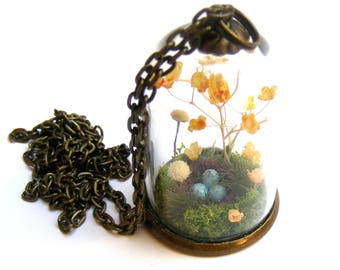 Terrarium necklace, birds nest pendant, gift for her, moss bottle, nature pendantl, gift from Ireland miniature terrarium flower jewelry
