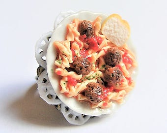 Food Jewelry Pasta and Meatballs Ring, Pasta Ring, Meatballs Ring, Miniature Food Ring, Mini Food Jewelry, Pasta Jewelry, Meatballs Jewelry