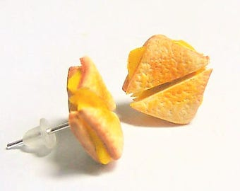 Food Jewelry Grilled Cheese Earrings, Grilled Cheese Jewelry, Cheese on toast Mini food Jewelry Miniature Food Cheese Lover Cheese jewellery