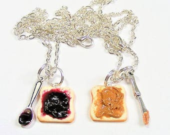 Food Jewelry, Best Friends Necklaces,  Peanut Butter and Jelly Necklaces, Miniature Food Jewelry, Bff jewelry, mini food, friends forever